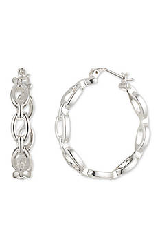 Nine West Silver-Tone Mixed Medley Chain Hoop Earrings