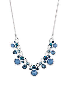 Nine West Silver-tone and Blue Frontal Necklace