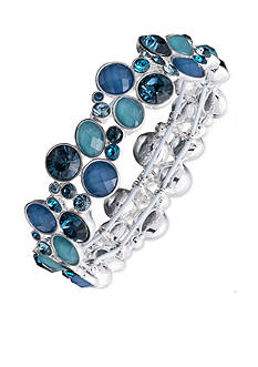 Nine West Silver-tone Blue Stretch Bracelet