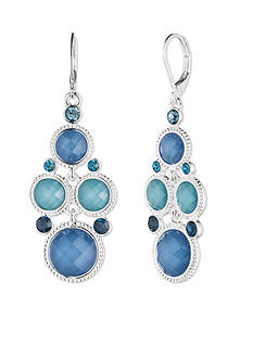 Nine West Silver-tone and Blue Chandelier Drop Earrings