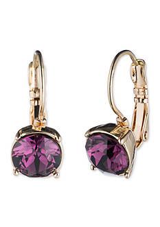 Nine West Gold-tone Purple Drop Earrings