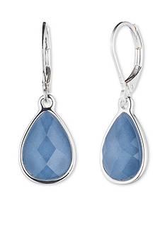 Nine West Silver-tone and Blue Teardrop Drop Earrings