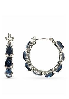Nine West Silver-Tone Color Me Bright Blue Hoop Earrings