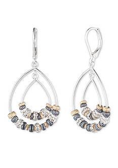 Nine West Tri-Tone Metal Mingle Euro Wire Orbital Earrings