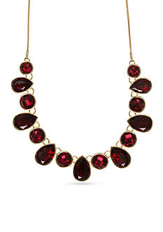 Nine West Gold-Tone Color Me Bright Red Frontal Necklace