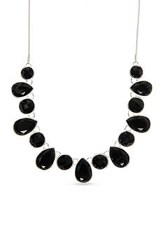 Nine West Silver-Tone Black Faceted Bead Collar Necklace