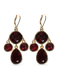 Nine West Gold-Tone Color Me Bright Red Chandelier Earrings
