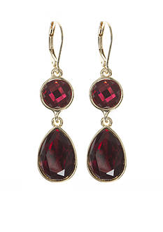 Nine West Gold-Tone Color Me Bright Red Double Drop Earrings