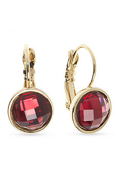 Nine West Gold-Tone Color Me Bright Red Medium Drop Earrings