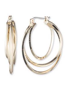 Nine West Gold-Tone Heavy Metal Ears Twisted Hoop Earrings