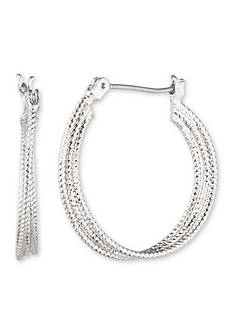 Nine West Silver-Tone Heavy Metal Ears Medium Hoop Earrings