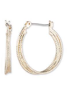 Nine West Gold-Tone Heavy Metal Ears Medium Hoop Earrings
