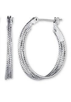 Nine West Hematite-Tone Heavy Metal Ears Medium Hoop Earrings