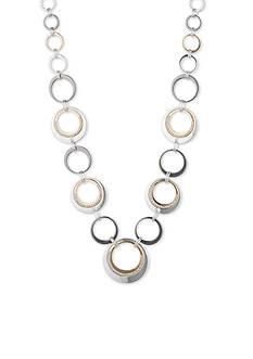 Nine West Tri-Tone Ring Around Multi Rings Collar Necklace