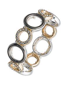 Nine West Tri-Tone Ring Around Round Links Stretch Bracelet