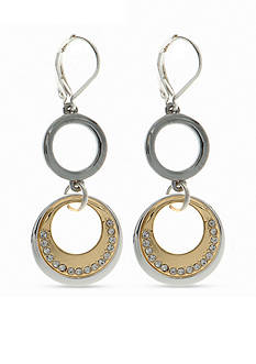 Nine West Tri-Tone Ring Around Double Drop Earrings