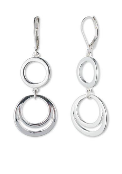 Nine West Silver-Tone Ring Around Round Linked Double Drop Earrings