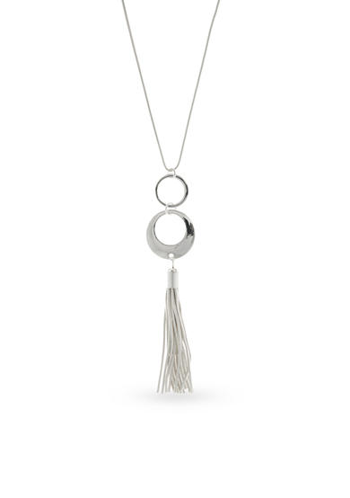 Nine West Silver-Tone Ring Around Tassel Pendant Necklace