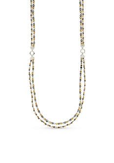 Nine West Tri-Tone Steel The Show Long Strand Necklace