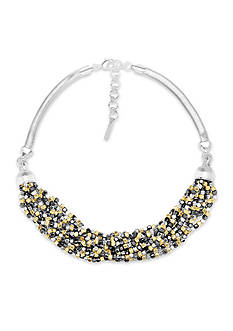 Nine West Tri-Tone Steel The Show Multi Row Necklace