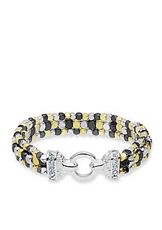 Nine West Tri-Tone Steel The Show Stretch Bracelet