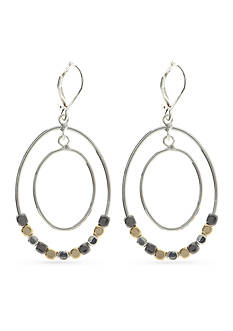 Nine West Two-Tone Steel The Show Orbital Drop Earrings