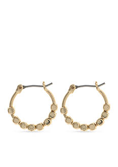 Nine West Gold-Tone Steel The Show Small Hoop Earrings