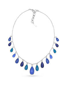 Nine West Silver-Tone Spring Droplets Blue Shaky Frontal Necklace