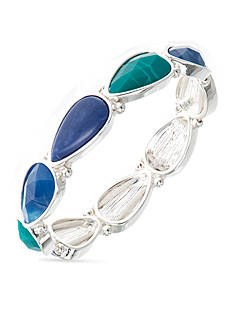 Nine West Silver-Tone Spring Droplets Stretch Bracelet