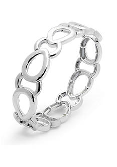 Nine West Silver-Tone Glimmer Links Stretch Bracelet