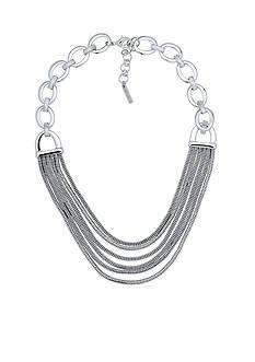 Nine West Silver-Tone Tinge of Fringe Collar Necklace