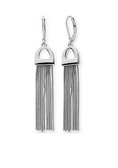 Nine West Silver-Tone Tinge of Fringe Tassel Drop Earrings
