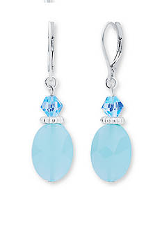 Nine West Silver-Tone Bring On The Bead Blue Drop Earrings