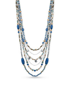 Nine West Silver-Tone Seaside Splendor Multi-Strand Necklace