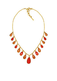 Nine West Gold-Tone Spring Droplet Coral Collar Necklace