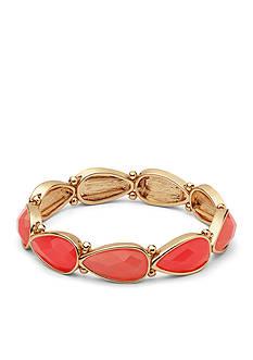 Nine West Gold-Tone Spring Droplet Coral Stretch Bracelet