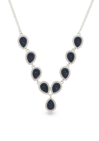 Nine West Silver-Tone NW Denim Basics Gem Chain Necklace