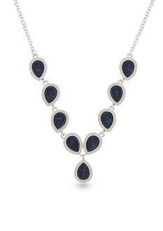 Nine West Silver-Tone NW Denim Basics Gem Chain Necklace