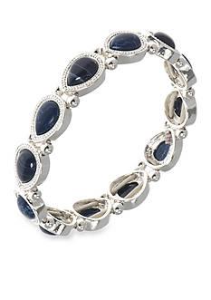 Nine West Silver-Tone NW Denim Basics Stretch Denim Gem Bracelet
