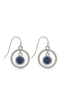 Nine West Silver-Tone Denim Basics Orbital Drop Earrings