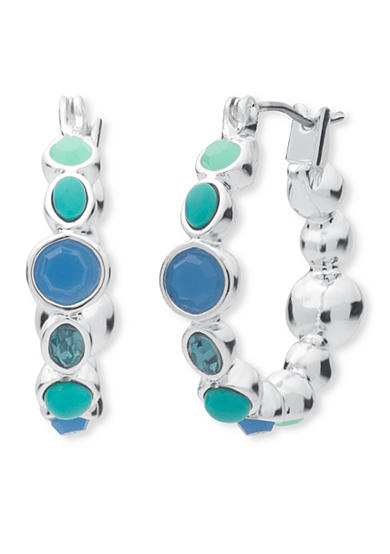 Nine West Silver-Tone Spring Oasis Click Top Closure Earrings