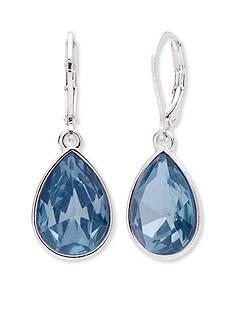 Nine West Silver-Tone Aqua Teardrop Earrings