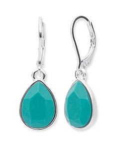 Nine West Silver-Tone Spring Oasis Teardrop Earrings