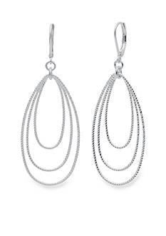 Nine West Silver-Tone Textured Hoops Orbital Drop Earrings