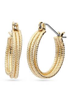 Nine West Gold-Tone Textured Small Hoop Earrings