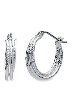 Nine West Silver-Tone Textured Hoops Double Layer Hoop Earrings