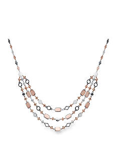 Nine West Tri-Tone Sandy Treasure Beaded Layer Necklace