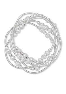 Nine West Silver-Tone Shimmer and Shake Stretch Bracelet Set