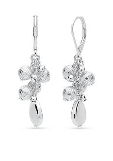 Nine West Silver-Tone Shimmer and Shake Cluster Drop Earrings