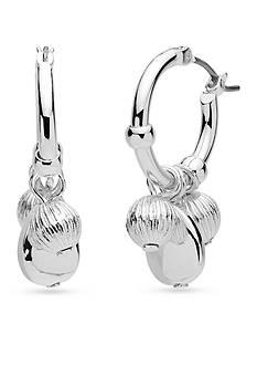 Nine West Silver-Tone Shimmer and Shake Hoop Earrings